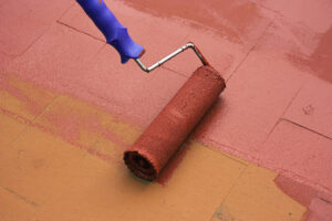 Painting a floor with Paving Paint
