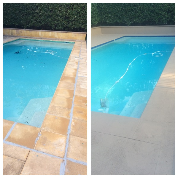Poolside and Paving Before and After Picture